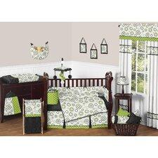 Lime and Black Spirodot 9 Piece Crib Bedding Set