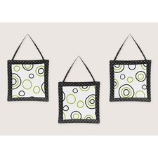 3 Piece Lime and Black Spirodot Wall Hanging Set