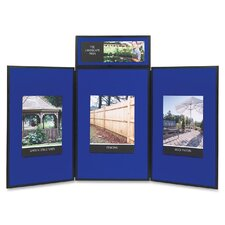 ShowIt Three-Panel Display System, Fabric, Blue/Gray, Black PVC Frame