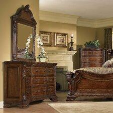Old World 9 Drawer Dresser with Mirror