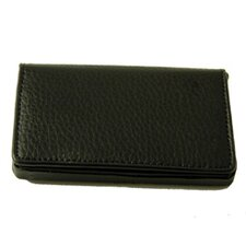 On the Go Pebble Grain Magnetic Business Card Case in Black