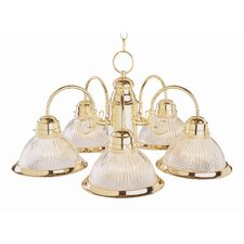 Back To Basics 5 Light Builder Chandelier with Halophane Glass Shades