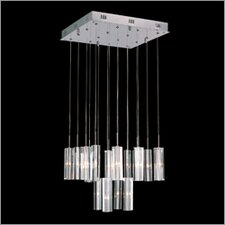 Sixteen Light Pendant with Crystal Blocks in Polished Chrome