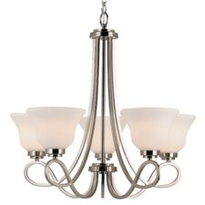 5 Light Chandelier with Opal Shade