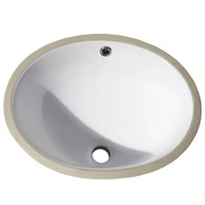 "Undermount 16.9"" Oval Vitreous China Ceramic Bathroom Sink"