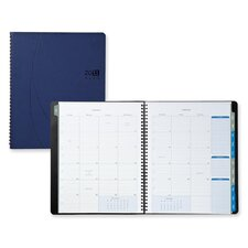 "Monthly Planner,Notebook,2PPM,9-1/8""x11-1/8""x5/8"",Blue, 2014"