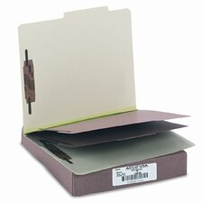 Pressboard 25-Point Classification Folders, Ltr, 6-Section, Leaf Green, 10/box