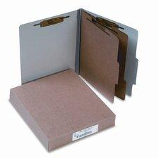 Pressboard 25-Point Classification Folders, Ltr, 6-Section, Mist Gray, 10/box