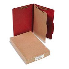 Pressboard 25-Point Classification Folder, Lgl, 4-Section, Earth Red, 10/bx