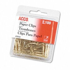 Paper Clips, Wire, 100/Box (Set of 5)