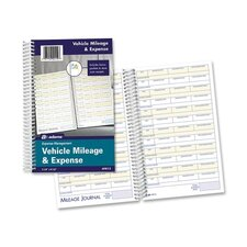 "Vehicle Mileage/Expense Journal,w/Pockets, 8-1/2""x5-1/2"", 64 Page, White"