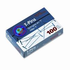 """Gem T-Pins, Steel, 1 1/2"""", 100/Box (Set of 4)"""