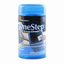 OneStep CRT Screen Cleaner Wet Wipes, Cloth, 5-1/4 x 5-3/4, 75/Tub