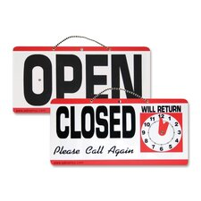 "Open/Closed Sign W/Clock, 11-1/2""x 6"", Red/White/Black"