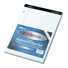 Evidence Dual Ruled Pad, Legal/Wide Rule, 8-1/2 X 11-3/4, 100 Sheets