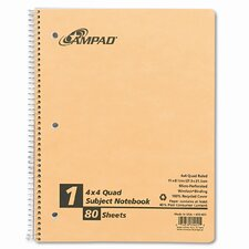 Earthwise By Oxford Wirelock Subject Notebook, Quadrille Rule, 8-1/2 X 11, We, 80 Sheets/Pad (Set of 2)