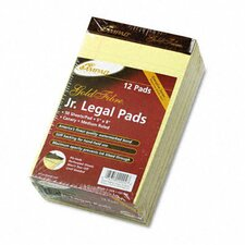 Gold Fibre Writing Pads, Jr. Legal Rule, 5x8, Canary, 50 Sheets, 12-Pack