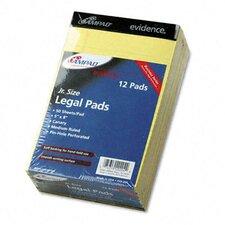 Evidence Perf Top Pads, Jr. Legal Rule, 5 X 8, 50-Sheet, 12/Pack
