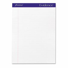 Evidence Perf Top, Wide Rule, Letter, 50-Sheet Pads/Pack, 12/Pack