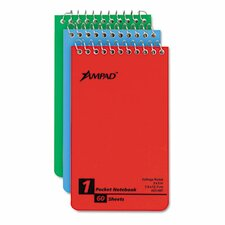 Wirebound Pocket Memo Book, College/Narrow Rule, 3 x 5, WE, 60-Sheet, 3/pk (Set of 2)