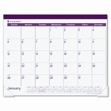 Fashion Color Monthly Desk Pad Calendar, 22 x 17, Rose, 2013