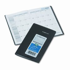14-Month Unruled Monthly Planner, 3-3/8 x 6-1/16, Black