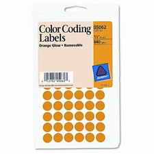 Removable Self-Adhesive Color-Coding Labels, 840/Pack (Set of 2)