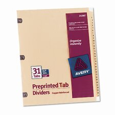 Copper Reinforced Laminated Tab Dividers, 31-Tab, 1-31 Tab Title (Set of 31)