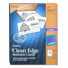 Clean Edge Laser Business Cards, 2 X 3 1/2, 10/Sheet, 2000/Box
