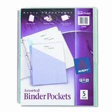 Ring Binder Polypropylene Pockets, 5 Pockets/Pack (Set of 2)