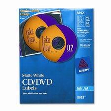 8692 Inkjet CD/DVD Labels (40/Pack)