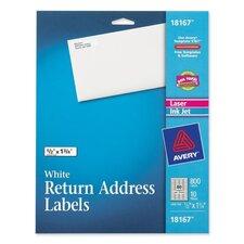 """Return Address Label, Laser/Inkjet, 1/2""""x1/3/4"""", 800 per Pack, White"""