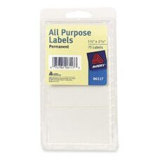 "All-Purpose Labels, Permanent, 1-1/2""x2-3/4"", 75 per Pack, White (Set of 5)"