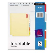 """Insertable Dividers, 3-HP, 5 Tab, 8-1/2""""x11"""", Multi-Color (Set of 8)"""