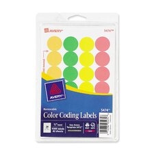 Print or Write Removable Color-Coding Labels, 3/4in dia, Asstd Neon, 1008/Pack