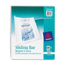 Sliding Bar Report Cover, 20 Sheet Capacity, 50 per Box , Clear/White