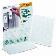 "Self-Adhesive Ring Binder Labels for 1-1/2"" Binders, 3/4 x 2 1/2, Clear, 12/Pack (Set of 3)"