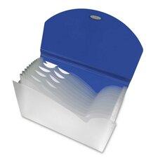 13-Pocket Expanding File w/ Designer V-cut, 13-Pckts, Holds 350 Sheets, Blue/Clear