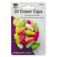 Eraser Pencil Caps, 20 per Pack, Neon Assorted