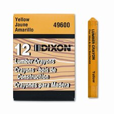 Lumber Crayon, Permanent, Yellow, 12 per pack