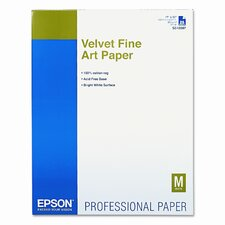 Velvet Fine Art Paper for Epson Pro Graphics Printers, White, 17 x 22, 25 Sheets