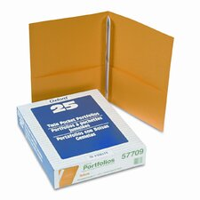 "Oxford Paper Twin-Pocket Portfolio, Tang Clips, Letter, 1/2"" Capacity, 25/Box"