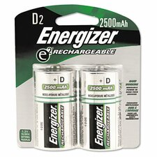 E2 Nimh Rechargeable Batteries, D, 2 Batteries/Pack