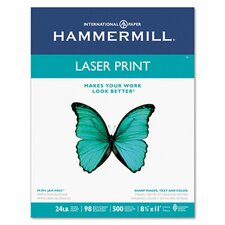 Laser Print Office Paper, 98 Brightness, 24Lb, 8-1/2 X 11, 500 Sheets/Rm