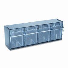 Tilt Bin Plastic Storage System with 4 Bins