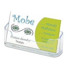 "Horizontal Business Card Holder, 3 3/4""w x 1 7/8""h x 1 1/2""d, Clear (Set of 5)"