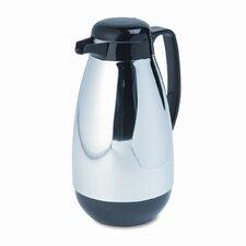 Vacuum Glass Lined Chrome-Plated Carafe, 1-Liter Capacity, Black Trim