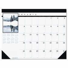Black-and-White Photo Monthly Desk Pad Calendar, 22 x 17, 2015