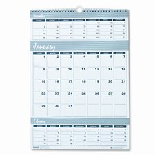 Bar Harbor Wirebound Three-Months-per-Page Wall Calendar, 12 x 17, 2013