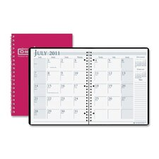 "Wirebound Leatherette Monthly Planners, 14 Mos, 8-1/2""x11"", Red, 2013"